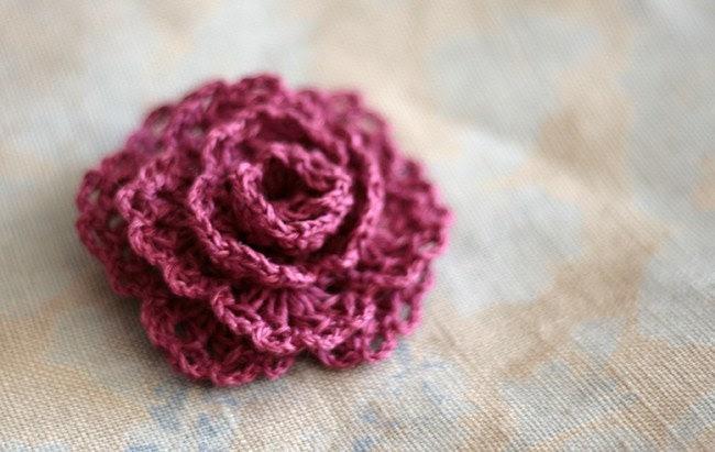 Crochet Linen Rose Brooch