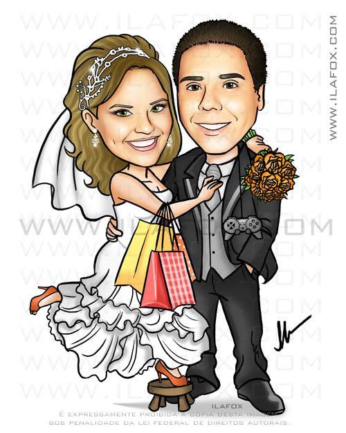 caricatura casal, noiva com sacola de compras, noivos controle playstation, by ila fox