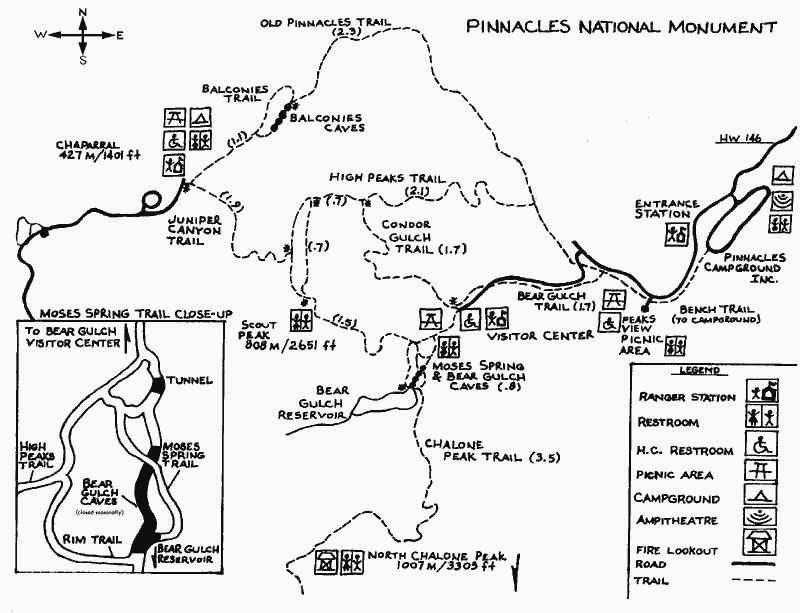 Pinnacles National Monument Trail Map Pinnacles National