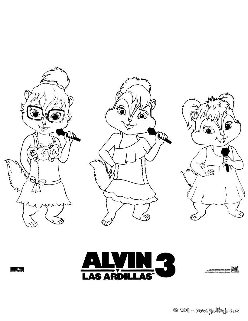 Alvin Y Las Ardillas Para Colorear Pintar 2 Imagenes Infantiles