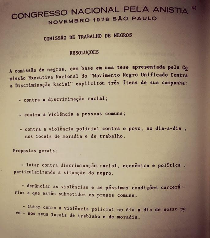 Texto elaborado no Congresso Nacional pela Anistia, São Paulo - 5 de novembro de 1978.