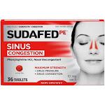 SUDAFED PE Congestion Maximum Strength Non-Drowsy Tablets 36 ea by Pharmapacks