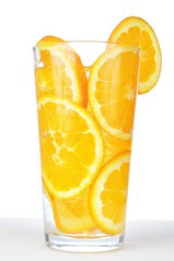 Orange in a glass