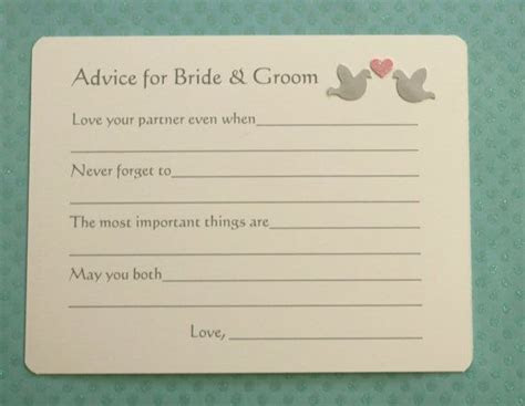 Marriage Bridal Advice Wish Cards   Bride Groom Wedding