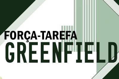 Arte em verde degradê escrito força-tarefa greenfield nas cores preta e verde escuro