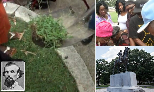 Protesters start to DIG UP body of Confederate general in Memphis