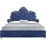 Meridian Furniture Caroline Navy Velvet Queen Bed