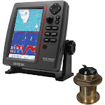 SI-TEX SVS-760CF Dual Frequency Chartplotter-Sounder w- Navionics+ Flexible Coverage & Bronze 20 Degree Transducer [SVS-760CFB60-20]