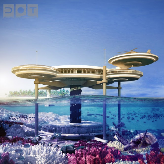 Guests are offered the dual opportunity of sleeping deep in the ocean, and bathing in the warm climate on the upper deck. Twenty-one hotel rooms are submersed in the center of a vibrant coral reef with enchanting views of sea life, illuminated with special lighting systems, and offer the use of miniature underwater vehicles equipped with macro photography, operated from your suite, to provide a closer look at the tiniest of creatures. A dive center allows guests to get up close in person, via an underwater airlock and decompression chamber that leads divers directly into the depths of the ocean.