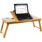 Aleratec Natural Bamboo Tablet Laptop Up to 15in Cooling Stand with Fan Table Desk