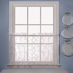 Saturday Knight Ltd Petite Fleur Collection High Quality & Traditional Lace Fresh Flowers Window Swag, Valance, Panel & Tiers - 56x36 White