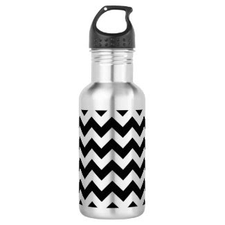 Black and Silver Zigzag 18oz Water Bottle