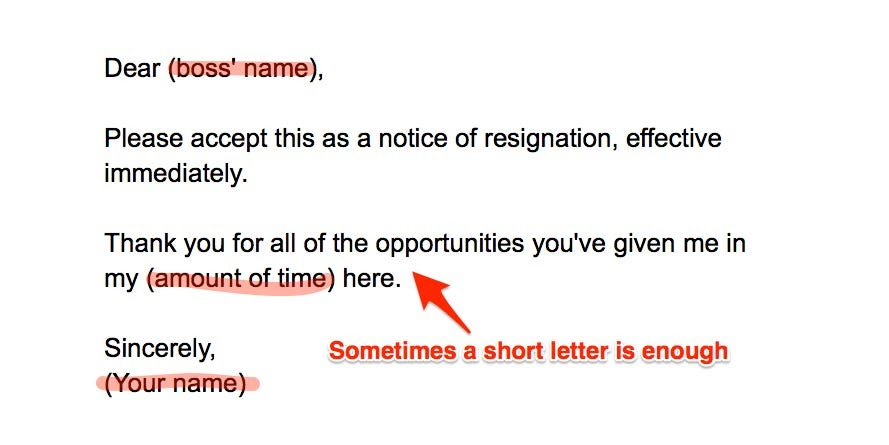 Resignation Letter Format 3 Months Notice