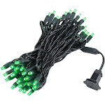 Novelty Lights 50 Light LED Christmas Mini Light Set, Outdoor Lighting Party Patio String Lights, Black Wire, 25 Feet, Green