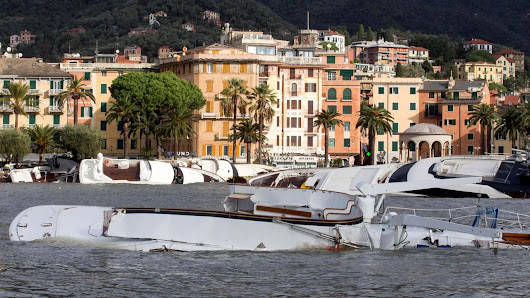 Storm destroys hundreds of yachts in Rapallo