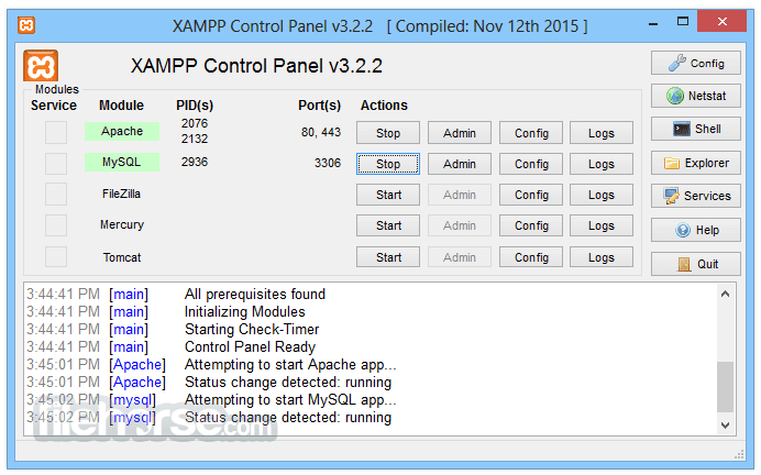 XAMPP 5.6.23 Screenshot 1