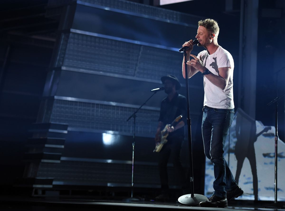 LAS VEGAS, NV - MARCH 31:  Singer Dierks Bentley rehearses onstage during for the 52nd Academy Of Country Music Awards at T-Mobile Arena on March 31, 2017 in Las Vegas, Nevada.  (Photo by Kevin Winter/ACMA2017/Getty Images for ACM)