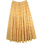 TLB Floral Spring Full Long Cotton Skirt for Summer Buttercup Yellow