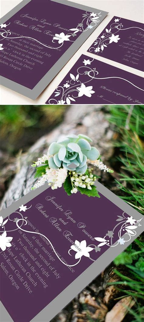 cheap rustic floral plum wedding invitations EWI001 as low