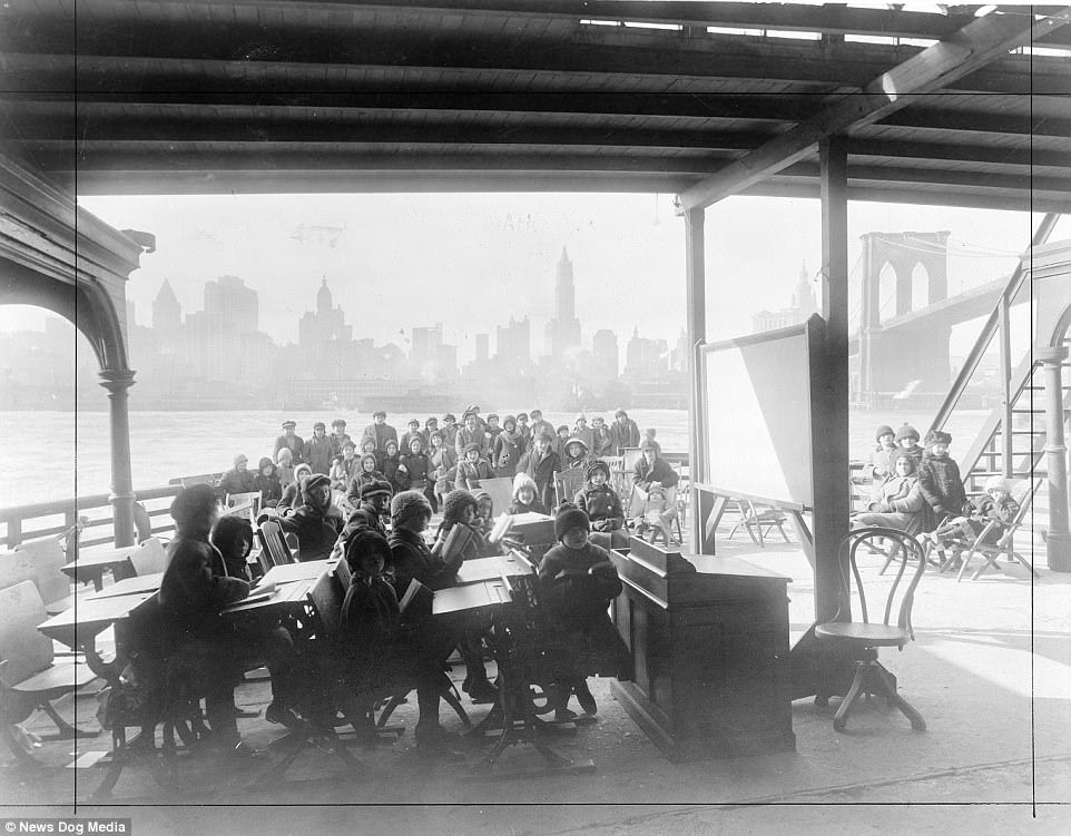 An Open Air Class on Day Camp Rutherford with the Manhattan skyline in the background, New York, 1911