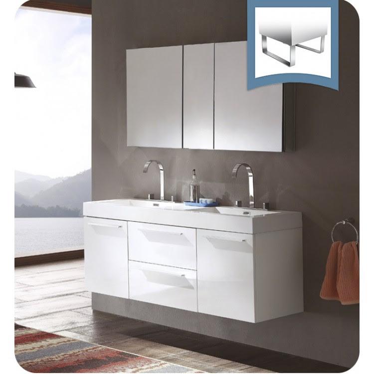 Fresca Fvn8013wh Opulento 54 White Modern Double Sink Bathroom