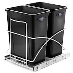 Home Zone Living Vk40265u 29 Liter / 7.6 Gallon Pull-out Trash Can Under The Counter Dual Bins Double Black