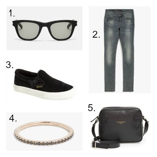 Saint Laurent Sunglasses - Nudie Jeans - Superga Sneakers - Gabriela Artigas Ring - Longchamp Handbag