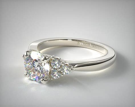 Unique Triple Cluster Side Stone Engagement Ring in 2.14mm