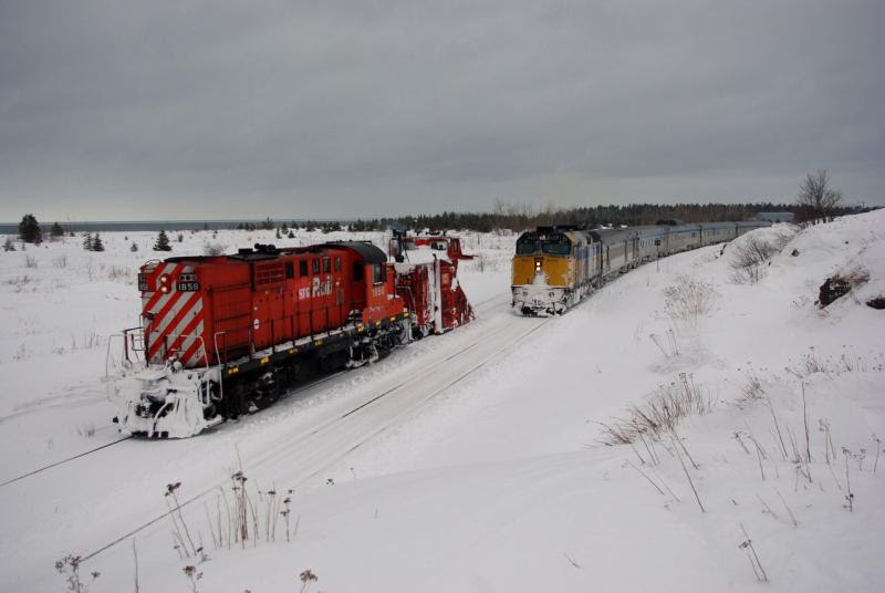 VIA Chaleur and SFG snowplow and 1856. Photo by David Morris