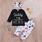 PatPat Black Baby Sets 3-6 mo Unisex Cotton - 3-Piece Daddy's My Hero Daily Outfit