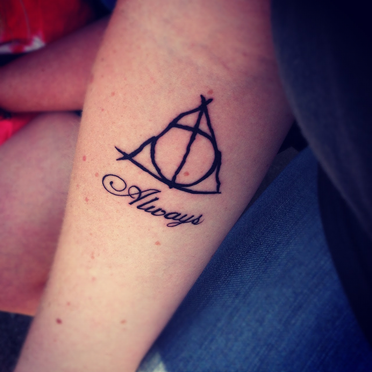 Cool Harry Porter Themed Tattoo Design On Inner Lower Arm Tattoomagz