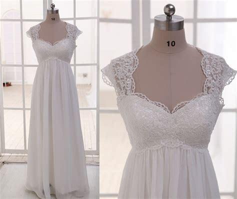 Lace Chiffon Wedding Dress Cap Sleeves Empire Waist By