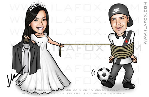 caricatura noivos, caricatura casal, caricatura divertida, caricatura para casamento by ila fox
