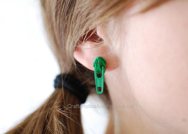 green zipper earrings