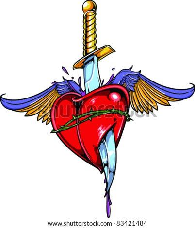 Broken Heart Tattoo Designs on Stock Vector Vector Tattoo Broken Heart 83421484 Jpg