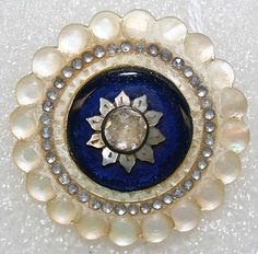 Wow! Great button!  Vintage French mother-of-pearl and paste button.  ca. 1780