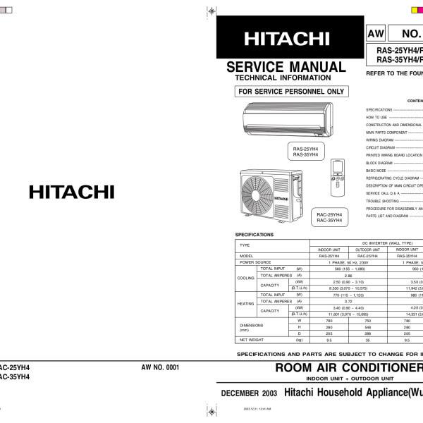 Service Manuals / Hitachi Air Conditioner Service Manual
