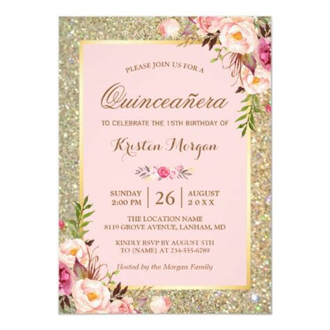 quinceanera birthday pink floral gold glitters card