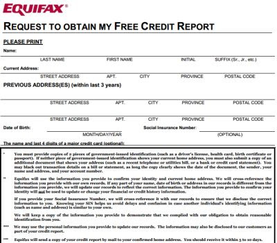 Equifax annual credit report request form