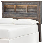 Ashley Furniture Drystan Full Bookcase LED Headboard in Teal - B211-85