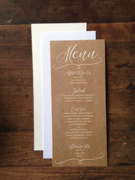 """Wedding Menu Cards 4""""x9""""   Rustic Wedding Menu Card"""