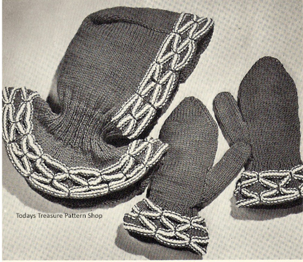 Smocked Mittens Knitting Pattern with Hood