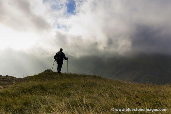 01M-2383 Walker on Rough Crag Haweswater Lake District Cumbria UK