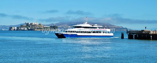 Ferry passing by Alcatraz