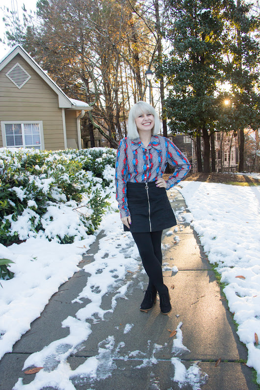 Outfit: Vintage 70s Button Down and Black Zippered Mini Skirt