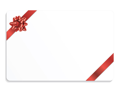 Christmas gift cards with ribbon vector set 03