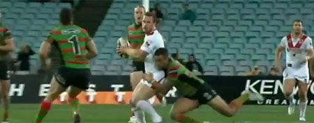 St. George Illawarra fullback Greg Inglis levels South Sydney's Dean Young with a vicious shoulder charge. (via YouTube)
