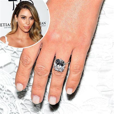 Kim Kardashian White Manicure Engagement Ring   POPSUGAR