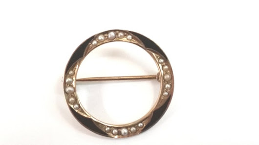 Gold Enamel Seed Pearls Circle Pin by PerlinJewelry on Etsy