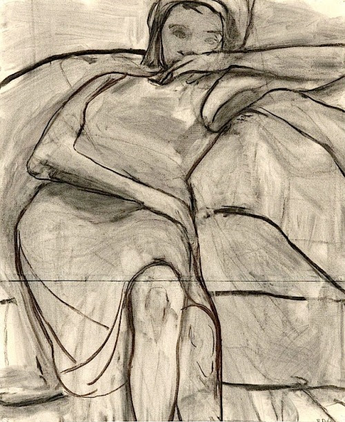 Richard Diebenkorn, 1966  charcoal on joined paper 72 × 59 cm.  The Richard Diebenkorn Foundation